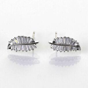 Baguette Crystal Leaves Platinum Plated Earrings