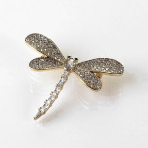 Gold Plated Glitzy Dragonfly Brooch