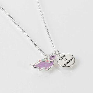 Equilibrium Girls Purple Dinosaur Silver Plated Necklace