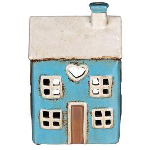 Village Pottery Heart House Bright Blue Tealight Holder