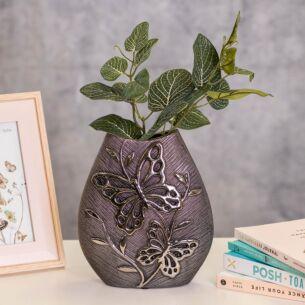 Wide Butterfly Gunmetal Vase