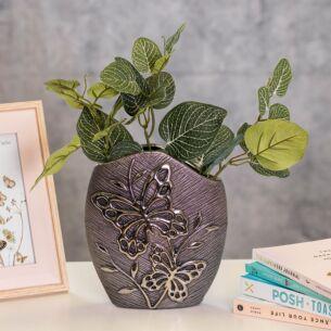 Modern Butterfly Gunmetal Vase