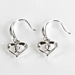 Silver Plated Heart Kiss Earrings