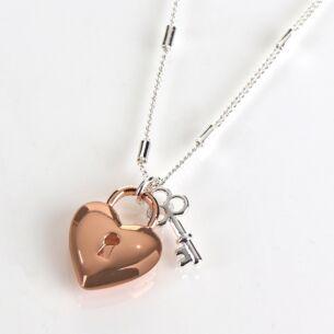 Love Locks Two Tone Heart Lock & Key Necklace