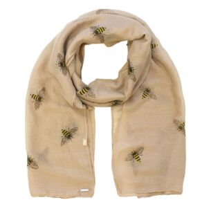 Busy Bees Detailed Brown Boxed Scarf
