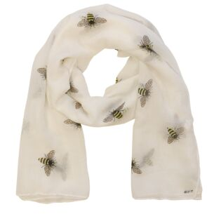 Busy Bees Detailed White Boxed Scarf