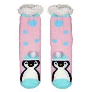 Nuzzles Ladies Pom Pom Penguin Pink Socks