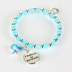 Girls Silver Plated Blue Mystical Bead Bracelet