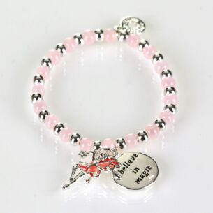 Girls Silver Plated Pink Mystical Bead Bracelet