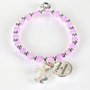 Girls Silver Plated Purple Mystical Bead Bracelet
