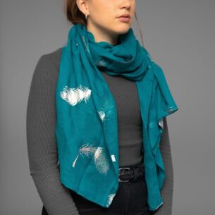 Teal Holographic Feathers Scarf