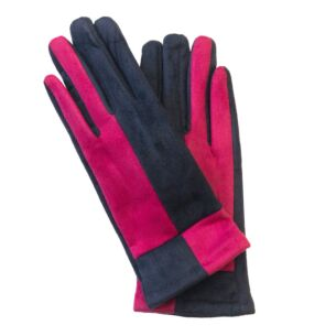 Pink & Navy Suede Effect Boxed Gloves
