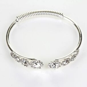 Silver Plated Crystal Flowers Open Bangle