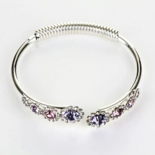 Equilibrium Silver Plated Purple Crystal Flowers Open Bangle