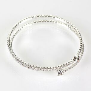 Clear Diamanté Silver Plated Boxed Flexi Bangle