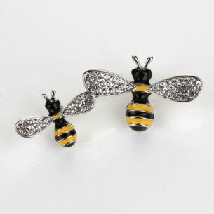 Buzzy Bees Silver Tone Brooch
