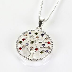 Harlequin Tree of Life Silver Plated Boxed Necklace