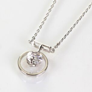 Hanging Crystal Platinum Plated Boxed Circle Necklace