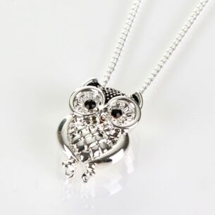 Owl Silver Plated Boxed Necklace