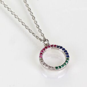 White Gold Plated Rainbow Diamanté Circle Boxed Necklace