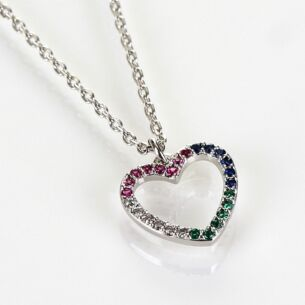 White Gold Plated Rainbow Diamanté Heart Boxed Necklace