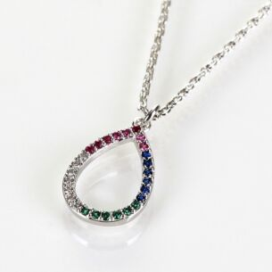 White Gold Plated Rainbow Diamanté Loop Boxed Necklace