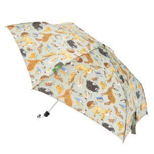 Olive Woodland Animals Recycled Mini Umbrella
