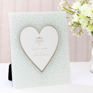 "Mirror 5"" x 7"" Silver Glitter Heart Photo Frame"