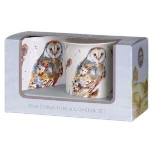Country Life Barn Owl Mug & Coaster Set