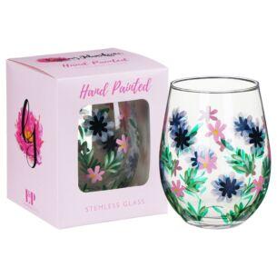 Hand Painted Cornflower Stemless Gin Glass