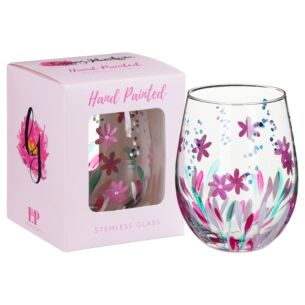 Hand Painted Wildflowers Stemless Gin Glass