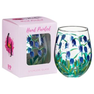 Hand Painted Bluebells Stemless Gin Glass