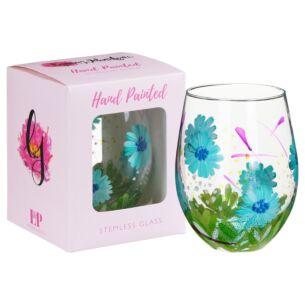 Hand Painted Blue Gerbera Stemless Gin Glass