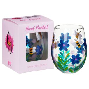 Hand Painted Bees & Wildflowers Stemless Gin Glass