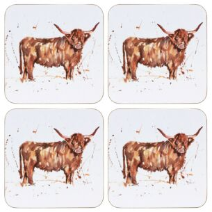 Country Life Set Of 4 Highland Cow Coasters