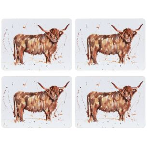 Country Life Set Of 4 Highland Cow Placemats