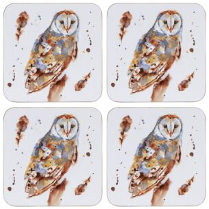Country Life Set Of 4 Barn Owl Coasters