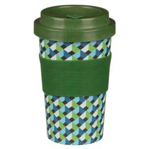 Small Geometric Green Bamboo Travel Mug