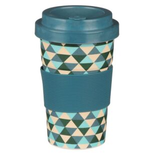 Small Triangle Patterned Light Blue Bamboo Travel Mug