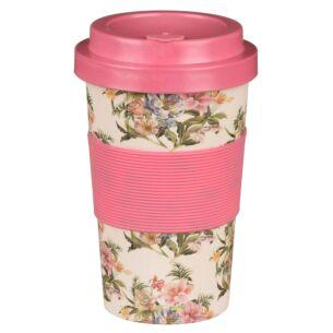 Small Floral Pink and Cream Bamboo Travel Mug