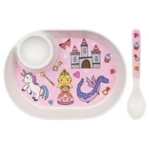 Fairy-Tale Bamboo Egg Plate & Spoon Set