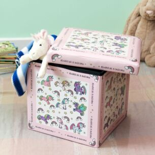 Leonardo's Little Stars Unicorns Flat Pack Storage Box