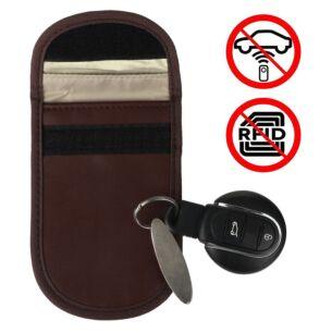 Car Key Signal Blocker Brown Pouch