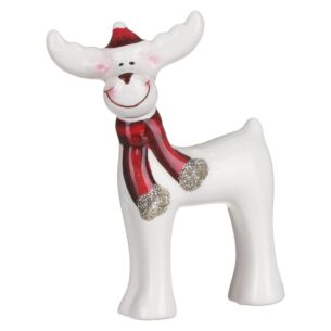 Ceramic Reindeer with Red Hat and Scarf Christmas Ornament