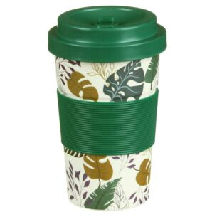 Small Floral Foliage Bamboo Travel Mug