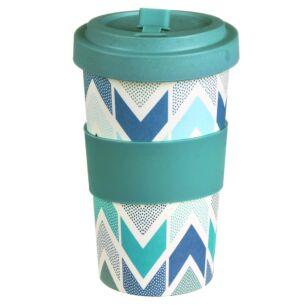 Large Patterned Blue Bamboo Travel Mug