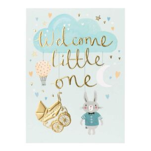 Louise Tiler 'Welcome Little One' Blue Baby Card