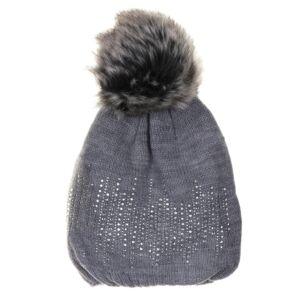 Cozy Grey Pompom Hat
