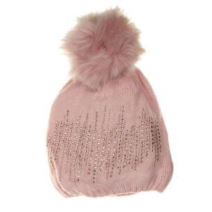 Cozy Pink Pompom Hat