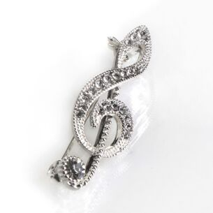 Music Collection Silver Plated Treble Clef Brooch